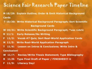 Science Fair Research Paper Timeline