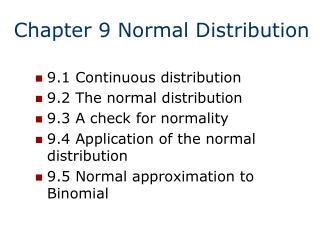 Chapter 9 Normal Distribution