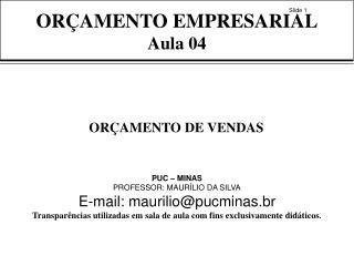 ORÇAMENTO EMPRESARIAL Aula 04