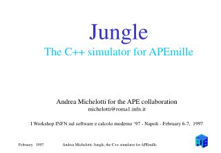 Jungle The C++ simulator for APEmille