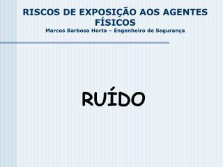 RISCOS DE EXPOSIÇÃO AOS AGENTES FÍSICOS      Marcos Barbosa Horta – Engenheiro de Segurança