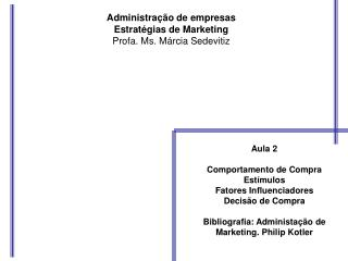 Administração de empresas Estratégias de Marketing Profa. Ms. Márcia Sedevitiz