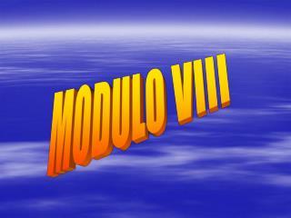MODULO VIII