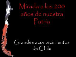 Mirada a los 200 años de nuestra Patria Grandes acontecimientos de Chile