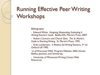 Running Effective Peer Writing Workshops