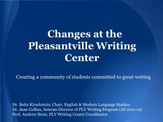 Changes at the Pleasantville Writing Center