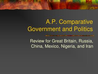 A.P. Comparative Government and Politics