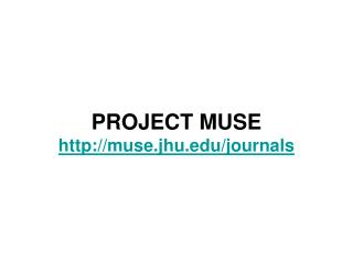 PROJECT MUSE muse.jhu/journals