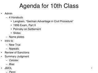 Agenda for 10th Class