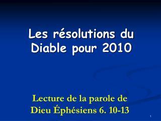 Les résolutions du Diable pour 2010