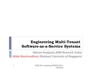 Engineering Multi-Tenant Software-as-a-Service Systems