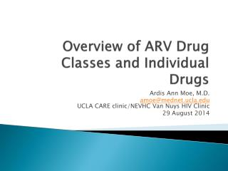 Overview of ARV Drug Classes and Individual Drugs