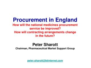 Procurement in England How will the national medicines procurement  service be improved How will contracting arrangement