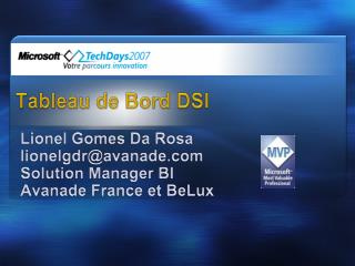 Tableau de Bord DSI