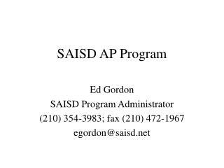 SAISD AP Program