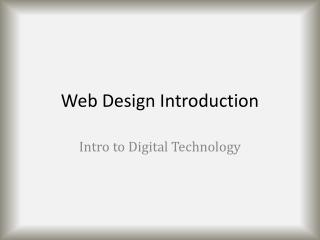 Web Design Introduction