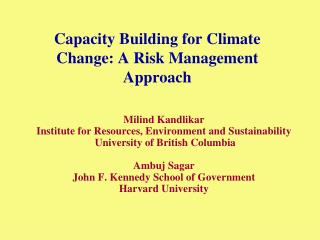 Capacity Building for Climate Change: A Risk Management Approach