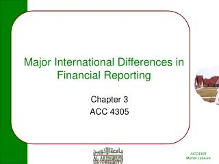 Major International Differences in Financial Reporting