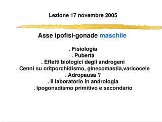 Lezione 17 novembre 2005 Asse ipofisi-gonade  maschile . Fisiologia . Pubertà