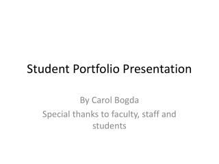 Student Portfolio Presentation