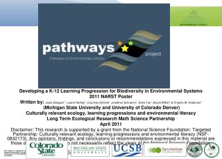 Developing a K-12 Learning Progression for Biodiversity in Environmental Systems 2011 NARST Poster