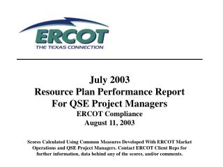 Resource Plan Performance Report: Resource Status