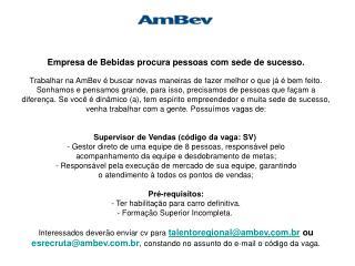 Anúncio Supervior de Vendas_ AmBev