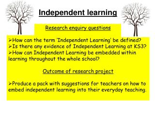 Research enquiry questions How can the term 'Independent Learning' be defined?
