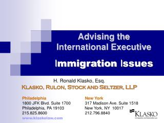 Advising the  International Executive I mmigration  I ssues
