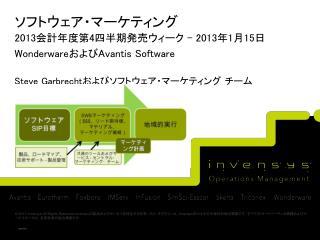 ソフトウェア・マーケティング 2013 会計年度第 4 四半期発売ウィーク  – 2013 年 1 月 15 日 Wonderware および Avantis Software
