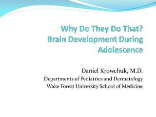 Why Do They Do That?   Brain Development During Adolescence