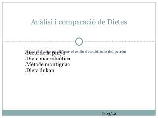 Anàlisi i comparació de Dietes
