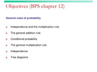 Objectives (BPS chapter 12)