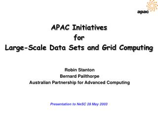 APAC Initiatives for Large-Scale Data Sets and Grid Computing