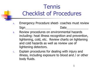 Tennis Checklist of Procedures