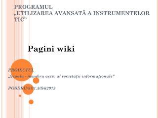 """PROGRAMUL """" UTILIZAREA AVANSATĂ A INSTRUMENTELOR TIC """""""
