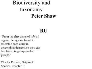 Biodiversity and taxonomy