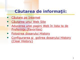 Căutarea de informaţii: