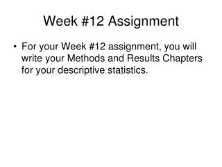 Week #12 Assignment