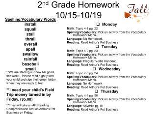 2 nd  Grade Homework  10/15-10/19