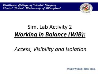 Sim. Lab Activity 2 Working in Balance (WIB):   Access, Visibility and Isolation