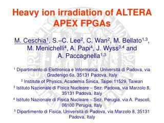 Heavy ion irradiation of ALTERA APEX FPGAs