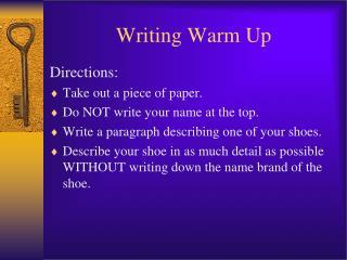 Writing Warm Up