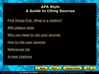 APA Style A Guide to Citing Sources