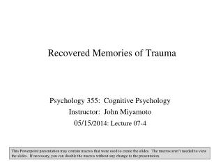 Recovered Memories of Trauma