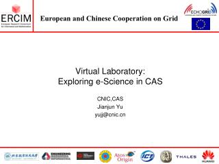 Virtual Laboratory:  Exploring e-Science in CAS CNIC,CAS Jianjun Yu yujj@cnic