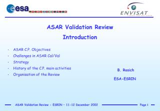 ASAR Validation Review Introduction