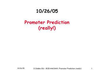10/26/05 Promoter Prediction (really!)