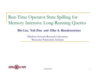 Run-Time Operator State Spilling for Memory Intensive Long-Running Queries
