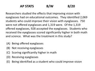 AP STATS               B/W                 8/20